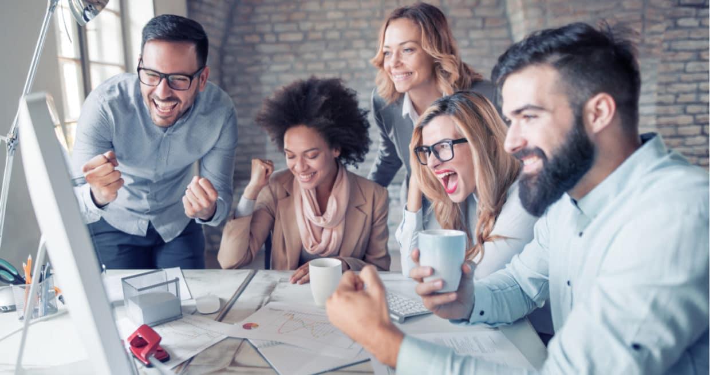Happy group of sales people